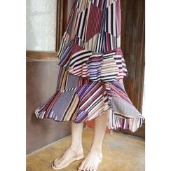 Lemite - Patterned Tiered Chiffon Long Skirt