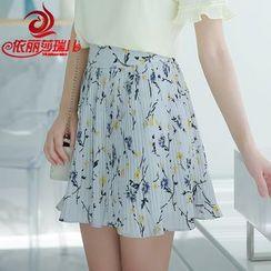 Elisa Rachel - Floral Print Pleated Mini Skirt