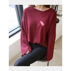 hellopeco - Drop-Shoulder Knit Top
