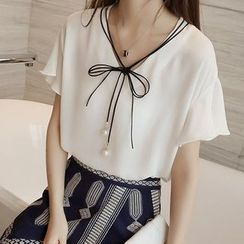 Sakura Rain - Short-Sleeve Tie-Front Top