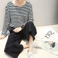 NANING9 - Round-Neck Striped T-Shirt
