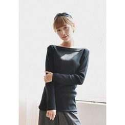 GOROKE - Boat-Neck Long-Sleeve Knit Top