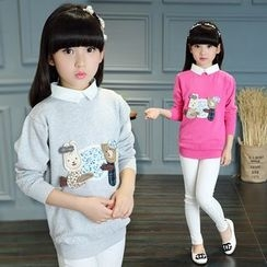 Pegasus - Kids Bear Applique Collared Pullover