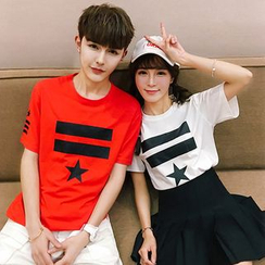 Evolu Fashion - Couple Matching Printed Short-Sleeve T-shirt