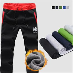 Alvicio - Fleece-lined Two-tone Letter Sweatpants