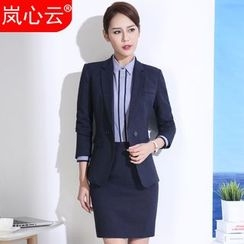 Skyheart - Pinstriped Vest / Set: Double-Breasted Pinstriped Blazer + Dress Pants / + Skirt / + Contrast Trim Dress Shirt
