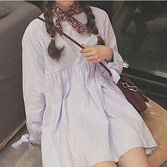 Cloud Nine - Bow A-line Long-Sleeve Dress