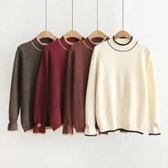 Angel Love - Tipped Long Sleeve Knit Top