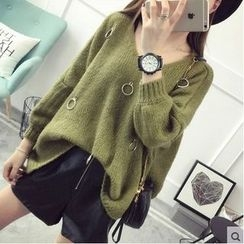 TIMI - Ring Accent Long Sweater