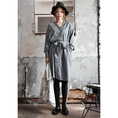 GOROKE - V-Neck Stripe Shirtdress with Sash