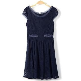 9mg - Mesh-Trim Lace Dress