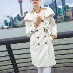 SEYLOS - Embroidered Doble-Breasted Trench Coat