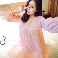 Snorie - Lace Panel Long-Sleeve Nightdress