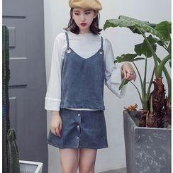 Bloombloom - Set: Corduroy Strap Top + Skirt + Bell-Sleeve Top