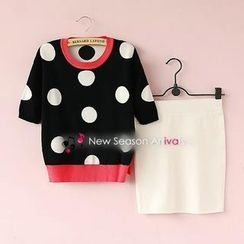 Munai - Set: Short-Sleeve Polka Dot Knit Top + Skirt