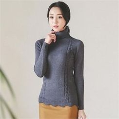 ode' - Turtle-Neck Cable-Knit Top