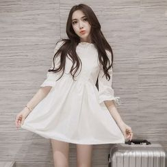 EFO - 3/4-Sleeve Lace-Panel A-Line Dress