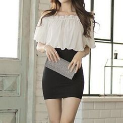 Fashion Street - 短袖露肩假两件连衣裙