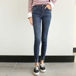 Morever - Washed Distressed Slim-Fit Cropped Jeans