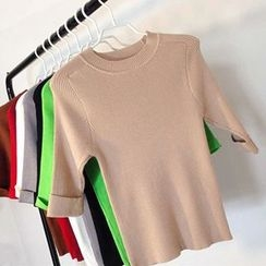 Coralie - Ribbed Knit Elbow Sleeve T-Shirt