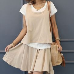 DANI LOVE - Set: Round-Neck Short-Sleeve Layered T-Shirt + Band-Waist Flared Shorts