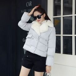 AiSun - Faux Fur Lapel Padded Jacket