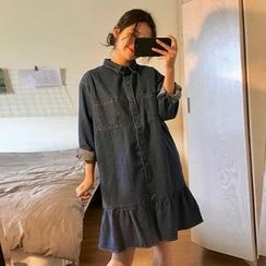 Bloombloom - Long-Sleeve Denim A-line Dress