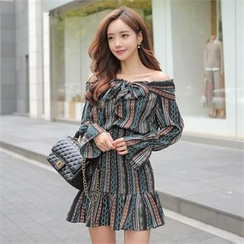 Babi n Pumkin - Off-Shoulder Smocked-Waist Patterned Dress