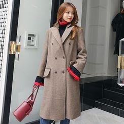 DABAGIRL - Peaked-Lapel Wool Blend Coat