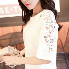 蘭芝 - 蕾絲拼接短袖T恤
