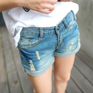 Tokyo Fashion - Skull-Appliqué Distressed Cuffed Denim Shorts