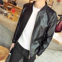 Mitouomo - Faux Leather Zip Jacket