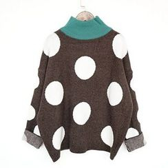 Polaris - Polka Dot Mock Neck Sweater