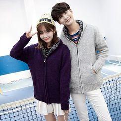 Je T'aime - Couple Matching Fleece-lined Hooded Jacket