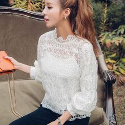 Dowisi - Scallop Collar 3/4 Sleeve Lace Top with Camisole