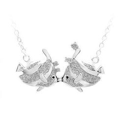 BELEC - 925 Sterling Silver Fish with White Cubic Zircon and Necklace