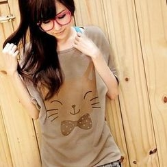YoungBaby - Dolman-Sleeve Cat Print Top