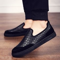 Araeo - Woven Faux Leather Slip-Ons