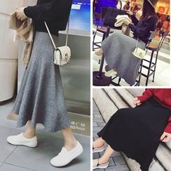 YOSH - Midi A-Line Knit Skirt