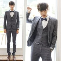Besto - Set: Window Pane Plaid Blazer + Suit Vest + Dress Pants