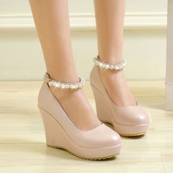 YOUIN - Beaded Strap Wedge Pumps