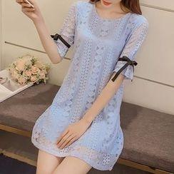 Fashion Street - Elbow-Sleeve Lace A-line Dress