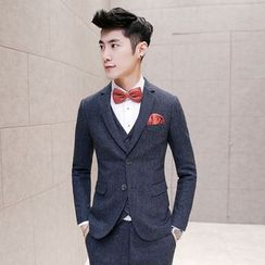 Besto - Set: Melange Blazer + Suit Vest + Dress Pants