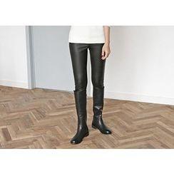 Hello sweety - Faux-Leather Brushed Fleece Leggings Pants