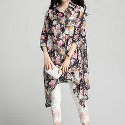 Fashion Street - Floral Oversized Chiffon Shirt