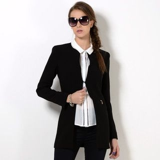 YesStyle Z - Padded-Shoulder Collarless Jacket
