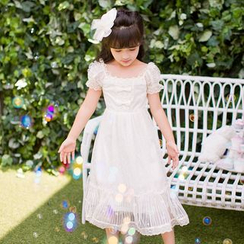 Candy Rain - Kids Faux Pearl Lace Trim Bow Accent Short Sleeve Dress