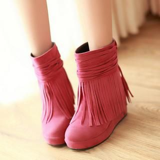77Queen - Faux-Suede Fringed Wedge Boots