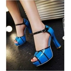 Freesia - Panel High Heel Platform Sandals