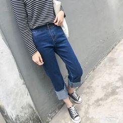 CHIH - Fray Hem Wide Leg Jeans